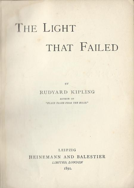 EL 1 Kipling The light that failed reprint title page