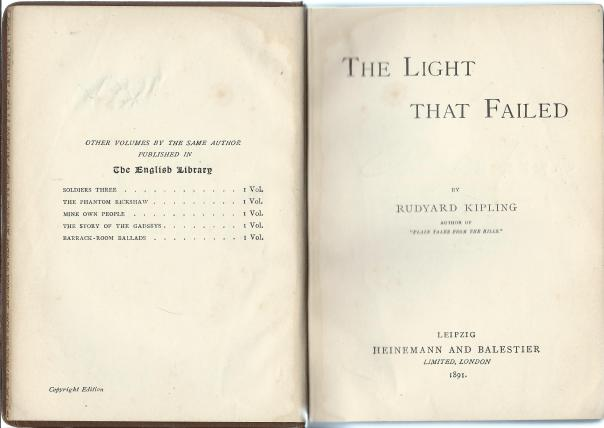 Kipling The light that failed reprint title and half title